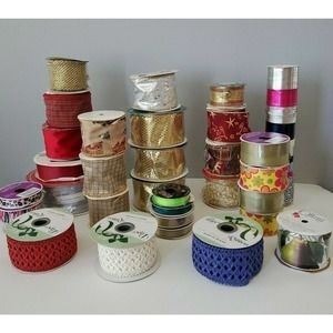 Lot of 32 Rolls of Crafters Ribbon Variety Mix